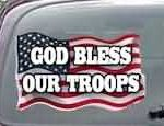 CNF165 God Bless Our Troops Patriotic American Flag Decal