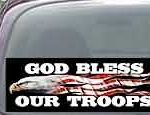 CNF171 God Bless Our Troops Patriotic American Flag Decal