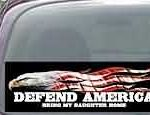 CNF172 Defend America Bring My Daughter Home Patriotic American Flag Decal