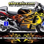 COL804 Color Fade Flame Decal Kit Suzuki Yamaha Kawasaki Metric Bike