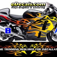 COL804 Color Fade Flame Decal Kit Suzuki Yamaha Kawasaki Metric Bike