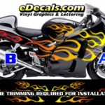 COL805 Color Fade Flame Decal Kit Suzuki Yamaha Kawasaki Metric Bike