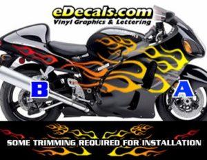 COL805 Color Fade Flame Decal Kit Suzuki Yamaha Kawasaki Metric Bike