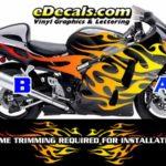 COL806 Color Fade Flame Decal Kit Suzuki Yamaha Kawasaki Metric Bike