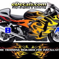 COL806 Color Fade Flame Decal Kit Suzuki Yamaha Kawasaki Metric Bike