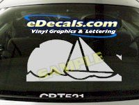 CRT521 Sailboat Sunset Marine Cartoon Decal