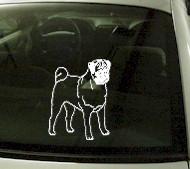 CRT759 Pug Dog Cartoon Decal