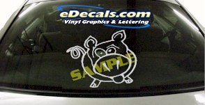 CRT897 Happy Pig Animal Cartoon Decal