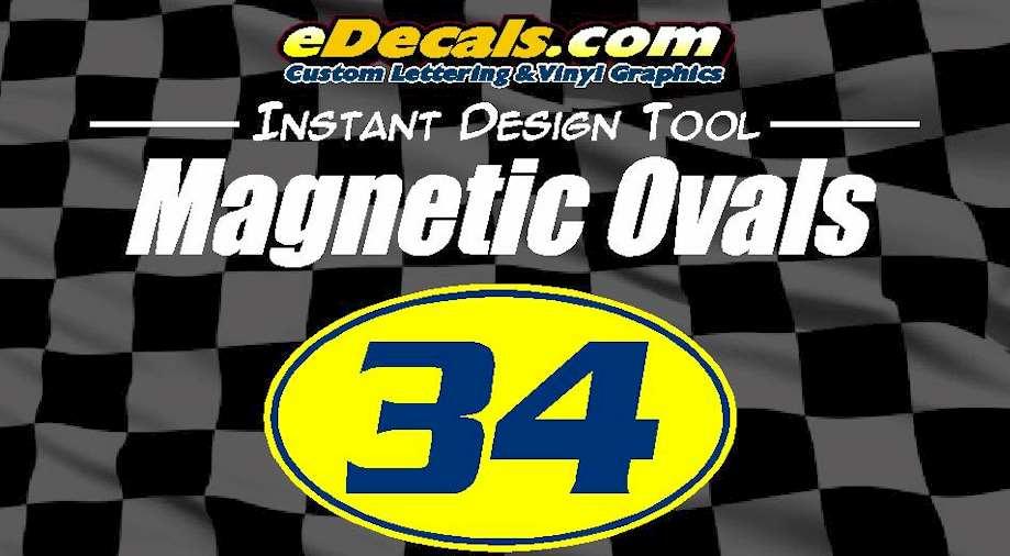 Custom9026 – Magnetic Oval Circle Racing Numbers