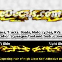 FLL101 Yellow Realistic Flame Graphic Decal