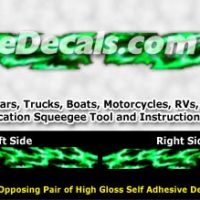 FLL105 Green Realistic Flame Graphic Decal