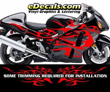 FLM804 Flame Decal Kit Suzuki Yamaha Kawasaki Metric Bike