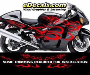 FLM805 Flame Decal Kit Suzuki Yamaha Kawasaki Metric Bike