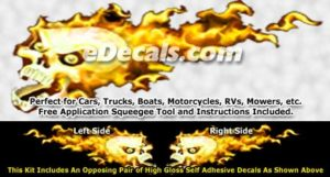 FLM860 Yellow Realistic Flame Graphic Decal