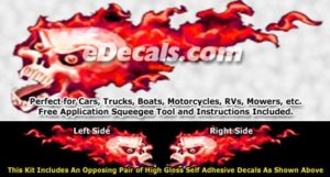 FLM861 Red Realistic Flame Graphic Decal