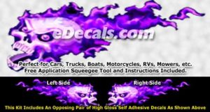 FLM862 Purple Realistic Flame Graphic Decal
