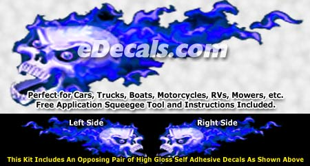 FLM863 Blue Realistic Flame Graphic Decal