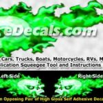 FLM864 Green Realistic Flame Graphic Decal