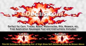 FLM866 Red Realistic Flame Graphic Decal