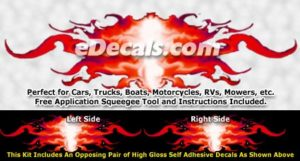 FLM876 Red Realistic Flame Graphic Decal