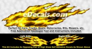 FLM890 Yellow Realistic Flame Graphic Decal