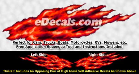 FLM891 Red Realistic Flame Graphic Decal