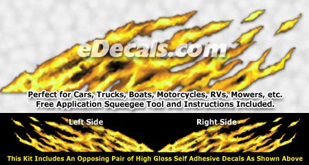 FLM895 Yellow Realistic Flame Graphic Decal