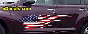 FLM901 USA Striped Flame Decal
