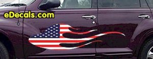 FLM904 USA Striped Flame Decal