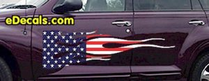 FLM905 USA Striped Flame Decal