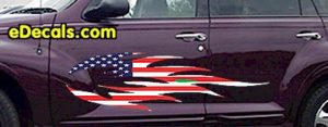 FLM906 USA Striped Flame Decal