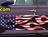 FLM907 USA Striped Flame Decal