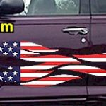 FLM908 USA Striped Flame Decal