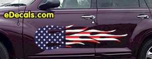 FLM913 USA Striped Flame Decal