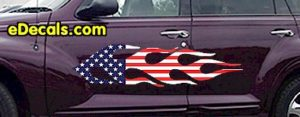 FLM916 USA Striped Flame Decal