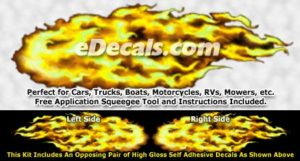 FLM920 Yellow Realistic Flame Graphic Decal