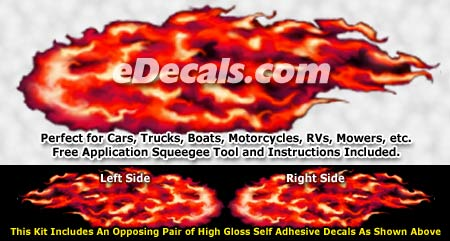 FLM921 Red Realistic Flame Graphic Decal