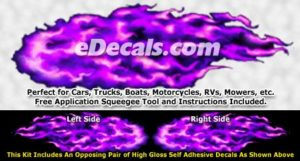 FLM922 Purple Realistic Flame Graphic Decal