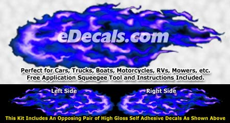 FLM923 Blue Realistic Flame Graphic Decal