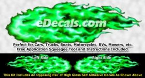 FLM924 Green Realistic Flame Graphic Decal