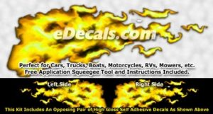 FLM925 Yellow Realistic Flame Graphic Decal
