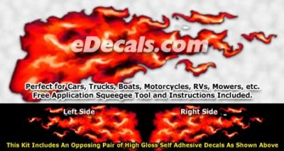 FLM926 Red Realistic Flame Graphic Decal