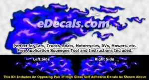 FLM928 Blue Realistic Flame Graphic Decal