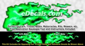 FLM929 Green Realistic Flame Graphic Decal