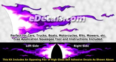 FLM932 Purple Realistic Flame Graphic Decal