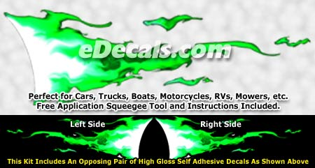 FLM934 Green Realistic Flame Graphic Decal