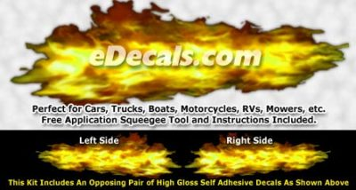 FLM935 Yellow Realistic Flame Graphic Decal