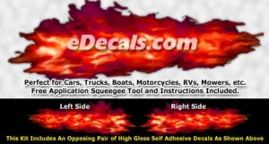 FLM936 Red Realistic Flame Graphic Decal