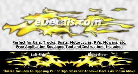 FLM945 Yellow Realistic Flame Graphic Decal