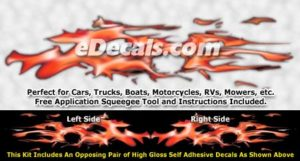 FLM946 Red Realistic Flame Graphic Decal